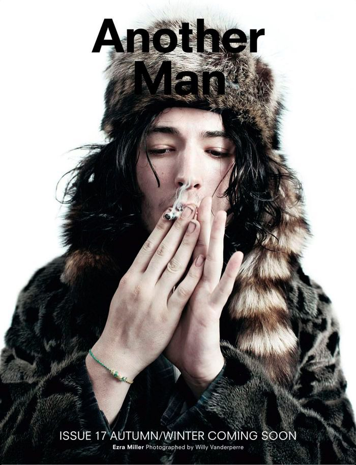 Ezra Miller cover the Fall/Winter 2013 issue of Another Man magazine, photographed by Willy Vanderperre.