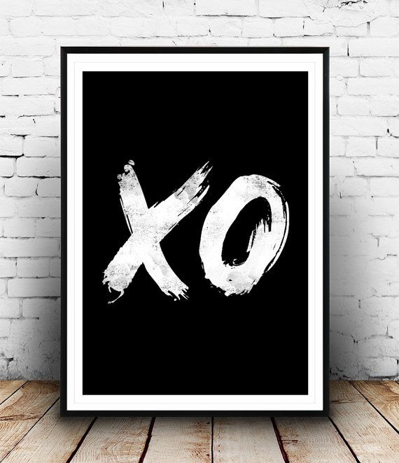 Typography Art, XO, Hugs and Kisses, Black and White, Home Decor, Minimalist Wall Art, Hand Paint, Handwriting Style, typography poster