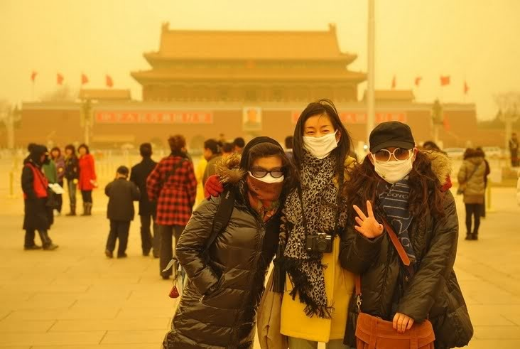 Sand Storms in Beijing China, product of over farming and Desertification.