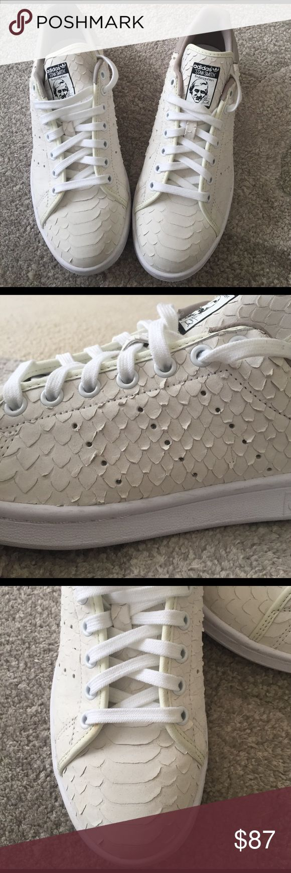 Adidas Stan Smith sneakers Size 10 women's eggshell colored soft snake skin sneakers. Worn once! (Max 2 hours). Clean base and laces. Super comfortable and trendy. Adidas Shoes Sneakers