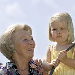 """""""Queen Beatrix with granddaughter Amalia"""" Now, the former queen and the Princess of Orange, the future queen."""