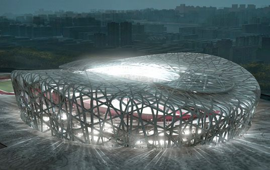 Olympic Stadium in Beijing, China, also known as the Bird's Nest. Easily the most memorable part of the 2008 Olympics. Inspired by traditional Chinese ceramics as well as contemporary abstracts in the East. The only thing better than visiting this would be playing in it.