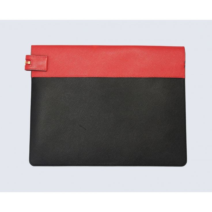 Large black/red leather clutch - Accessories