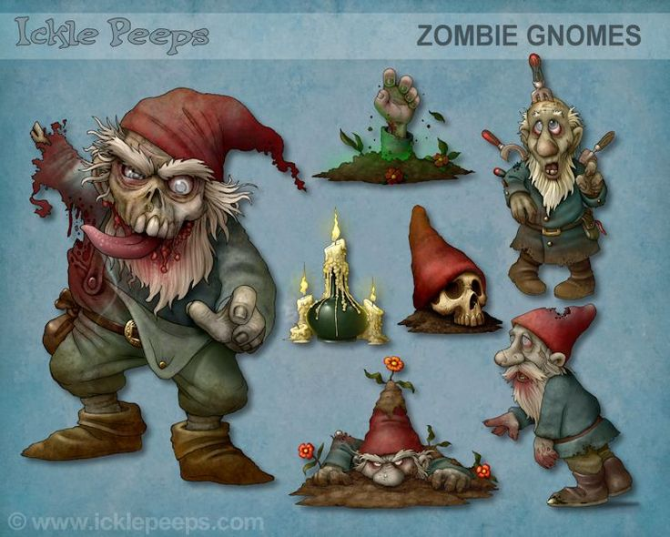 A set of 4 Zombie Gnomes and 3 additional props in PNG format