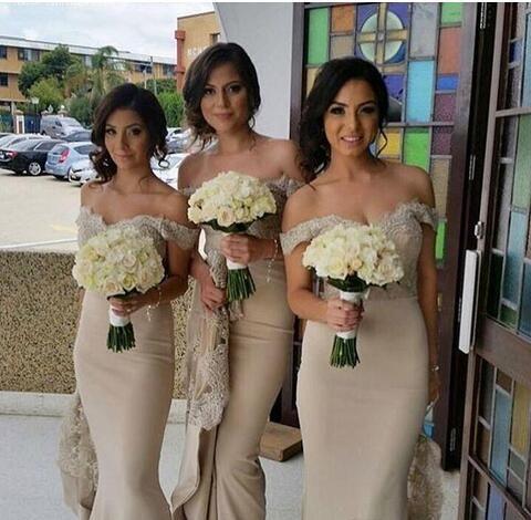 Charming Off Shoulder Lace Appliques Mermaid Bridesmaid Dress