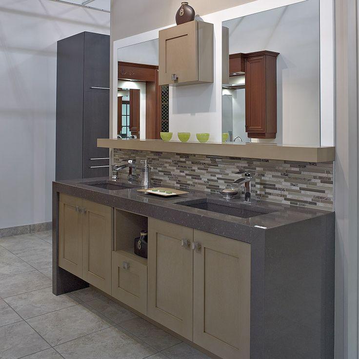 Vanite de salle de bain contemporaine en merisier id es for Armoire pour salle de bain