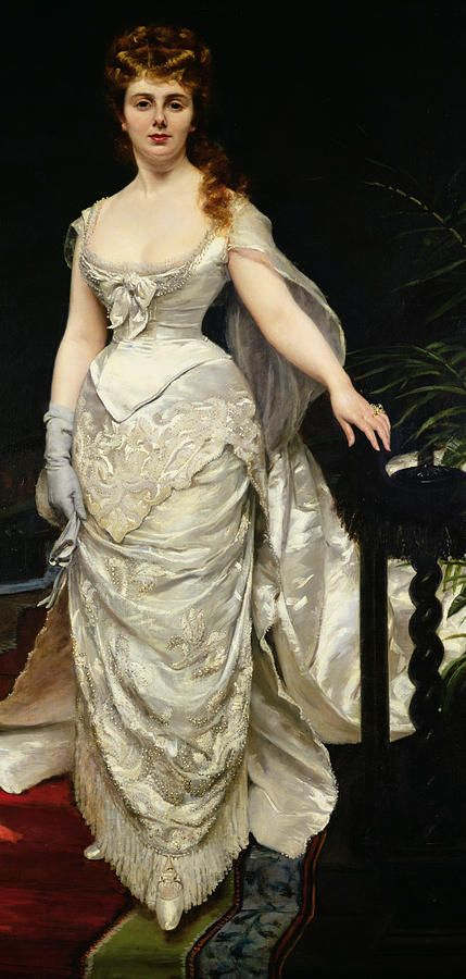 Portrait Of Mademoiselle X Painting by Charles Emile Auguste Carolus Duran