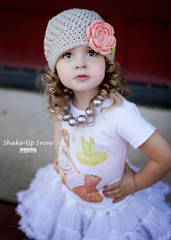 Girls Crochet  Baby Hat Beanie in Peaches and Grey  by onajeans, $18.50
