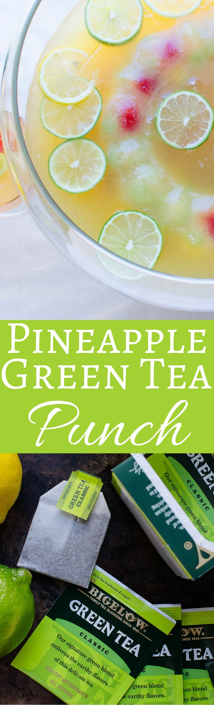 This recipe for bright, citrusy pineapple green tea punch is a terrific non-alcoholic option for your next party. Serves a crowd! #collectivebias #teaproudly #ad