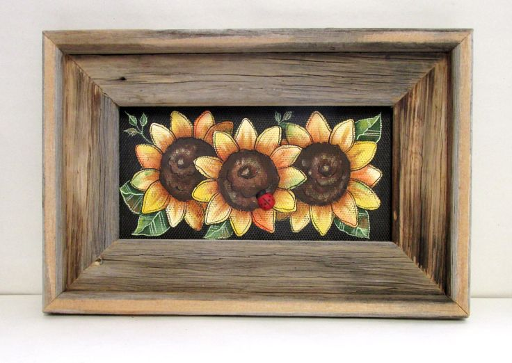 Yellow Sunflowers, Framed Rustic Barn Wood, Tole or Hand Painted on Black Fiberglass Screen, Wall Hanging, Reclaimed Barn Wood Frame by barbsheartstrokes on Etsy