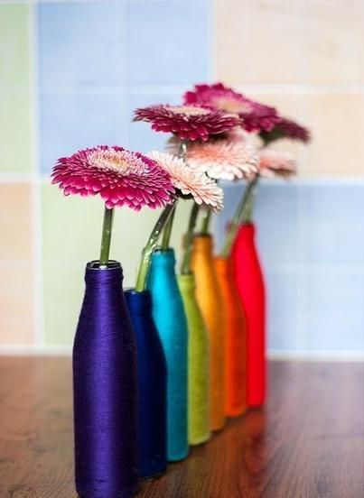 ваза из стеклянной бутылки своими руками фото