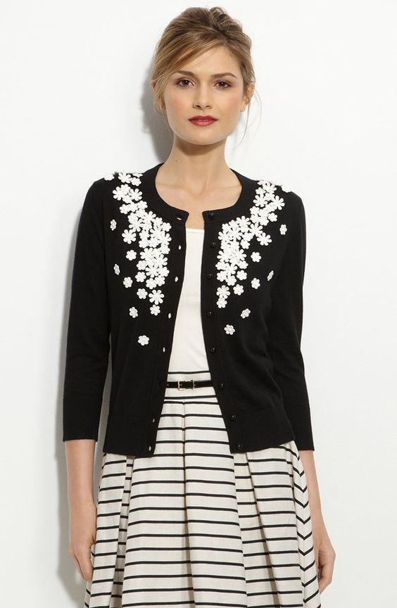 KATE SPADE KATIE Black Floral Embellished Cashmere Cardigan Sweater XS NWT – Cha…