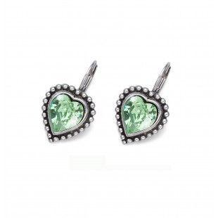 Oliver Weber Women lovely green earrings antique heart with Swarovski Crystals