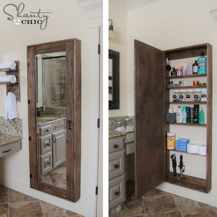 DIY Bathroom Storage Idea - Organization  www.shanty-2-chic.com  LOVE this! Perfect for small bathroom. Would love it built in.