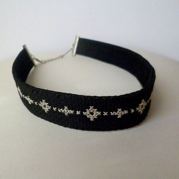 Black choker, Choker necklace, Silver lame thread, Satin choker, Black satin, Satin necklace,Embroidered choker, Embroidered necklace Stylish necklace,embroidery with DMC metallic pearl,black Panama,back-satin.  Dimensions: Width necklace - 2 cm./ 0.8 in/; Length - 37 cm. / 14.6 in/ ; 39 cm./15.4 in/; 42 cm /16.5 in/   The colors may vary slightly depending on computer screen and brightness.   Care for jewelry:  -please remove the jewelry when bathing a...