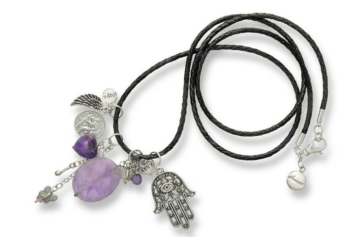 Namaste silver and braided leather necklace