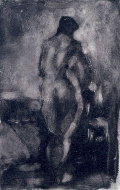 """Frank Hobbs, """"Figure Study,"""" monotype, 8 x 5 in."""