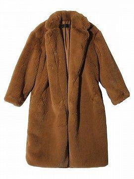 Brown Faux Fur Lapel Open Front Longline Coat