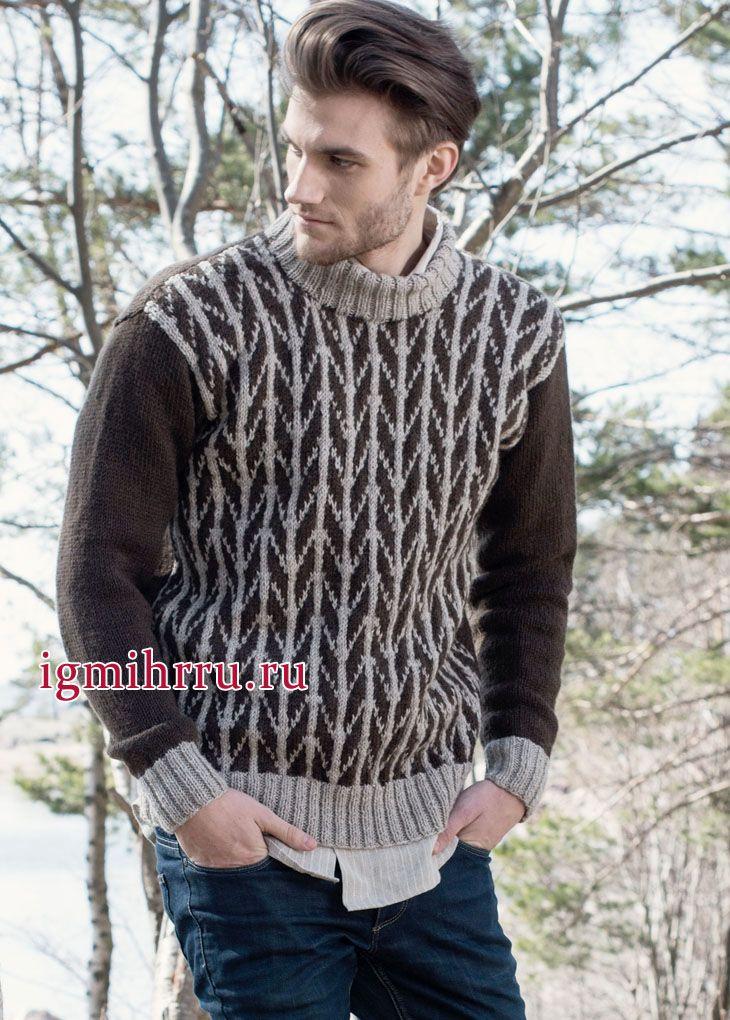 Шерстяной мужской пуловер с рисунком «в елочку». Вязание спицами для мужчин