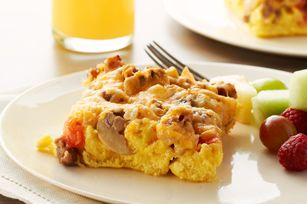 Sunday Brunch Bake recipe @ Kraftrecipes.com - I have made this dish several times and it is soooooo easy and delicious - doesn't get any easier!!! the mushrooms & tomatoes give it great flavor as does the sour cream and sausage & onions too