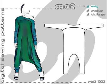 Harem-style Jumpsuit (sizes: S-M-L-XL) Exaggerated Lengths/ digital sewing pdf pattern for women >mc2-patterns< mc2-1002