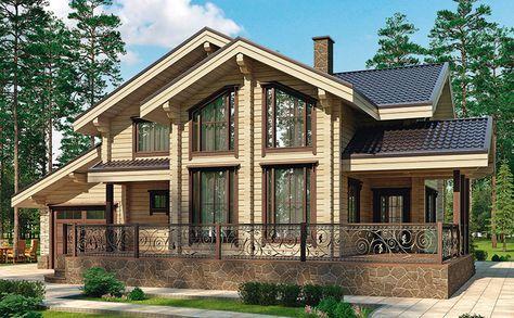 Коттедж «Кольчугино» (К-186-1), общая площадь — 245,4 м2, автор проекта: архитектор Семен Малюк, компания «КСДом», проекты домов в журнале «Деревянные дома»
