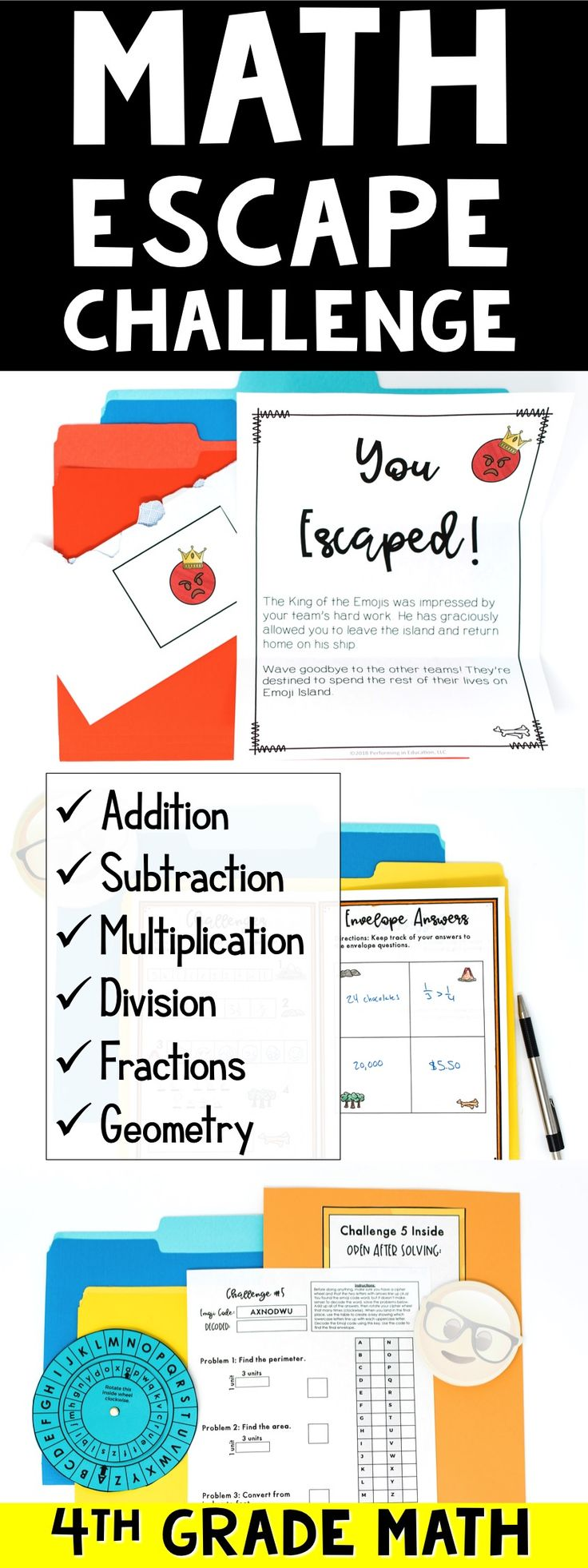 Escape from Emoji Island is an awesome Math Escape Room for Test Prep or end of the year review. This is the 4th grade version, which covers:  Addition Subtraction Multiplication Division Fractions Geometry