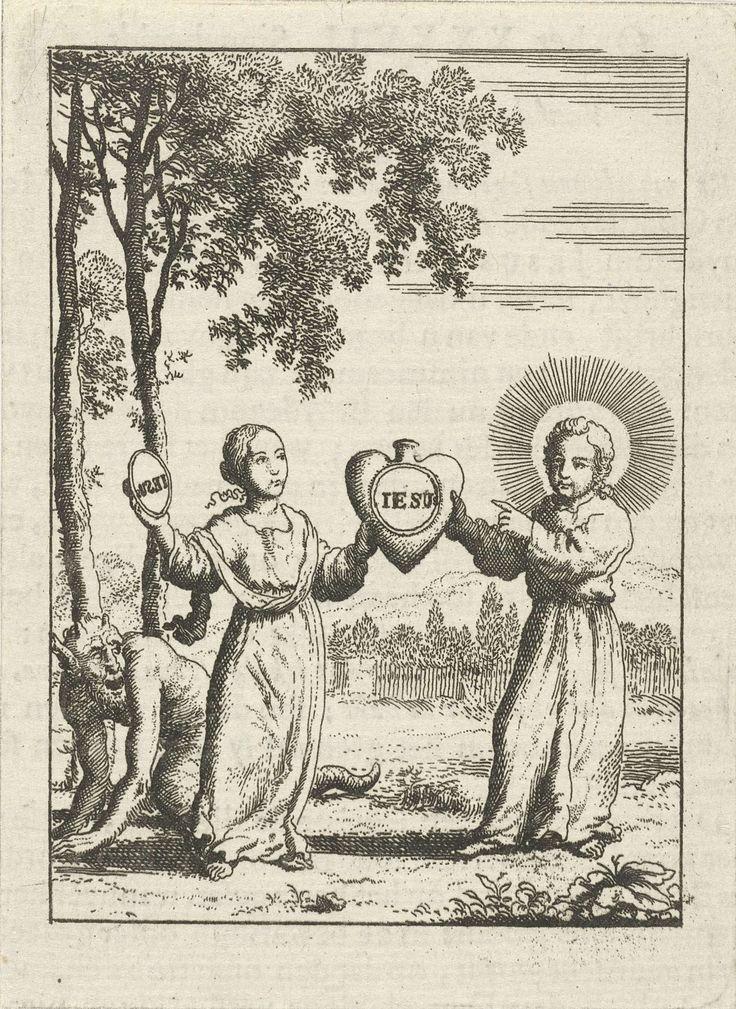 """Christus en de gepersonifieerde ziel houden samen een hart met de afdruk """"Iesus"""" vast, Jan Luyken, 1678 - 1687"""