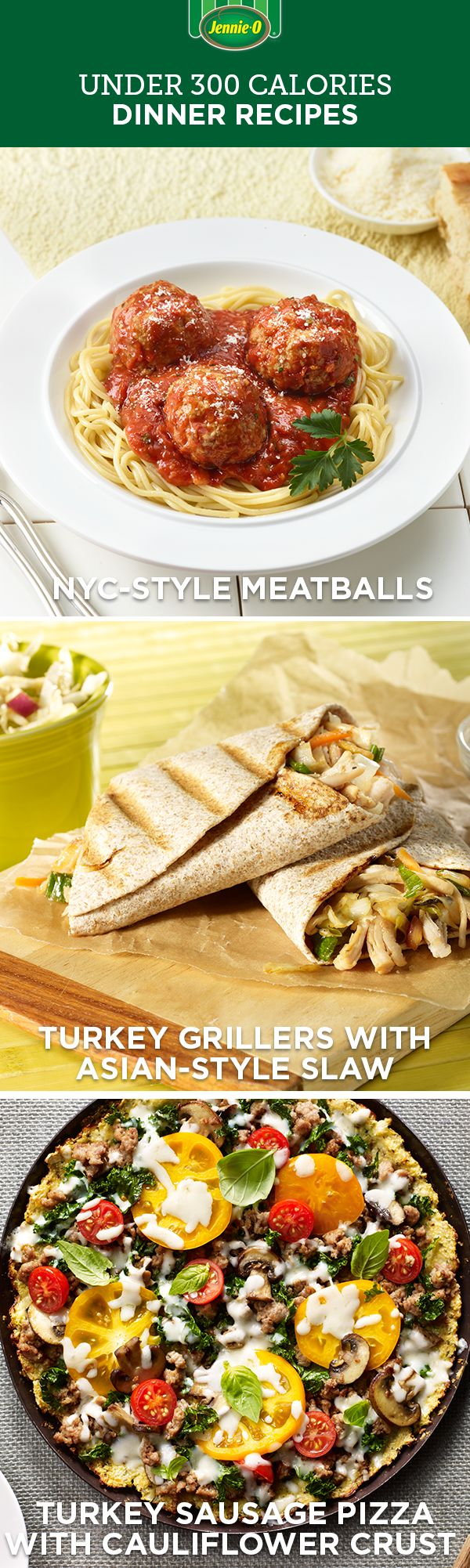 All the taste, none of the guilt. Find these under 300 calorie dishes and more on JennieO.com!
