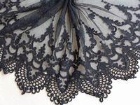 Винтаж черный вышивка кружева 11 дюймов широкий хлопок тюль кружевной ткани кружевной отделкой свадебные платья кружева один двор