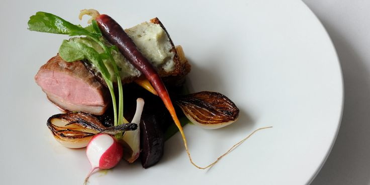 This lamb recipe by Luke holder presents lamb three ways – loin, shoulder and belly.  The vegetables are a courgette puree, artichoke…