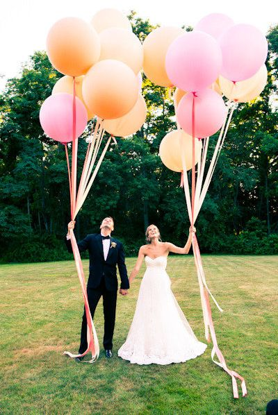 get BIG balloons with wide ribbon in rainbow colors for the birthday girl & boy
