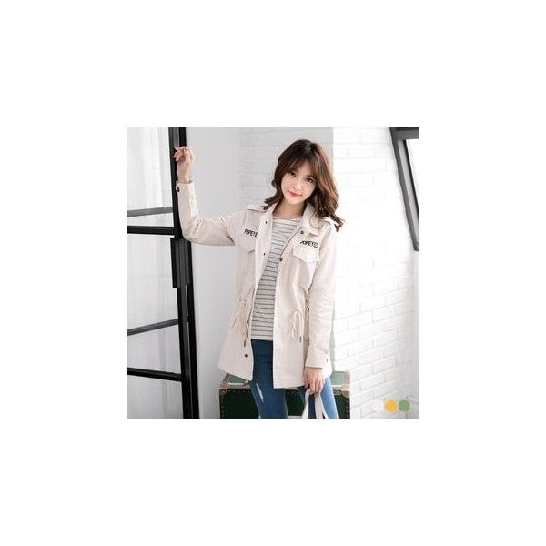 Lettering Drawstring Waist Utility Jacket ($44) ❤ liked on Polyvore featuring outerwear, jackets, women, utility jacket, drawstring waist jacket, white jacket, cotton utility jacket and white cotton jacket