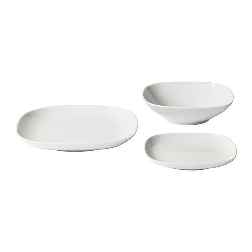 VÄRDERA 18-piece dinnerware set IKEA Made of feldspar porcelain, which makes the plate impact resistant and durable.