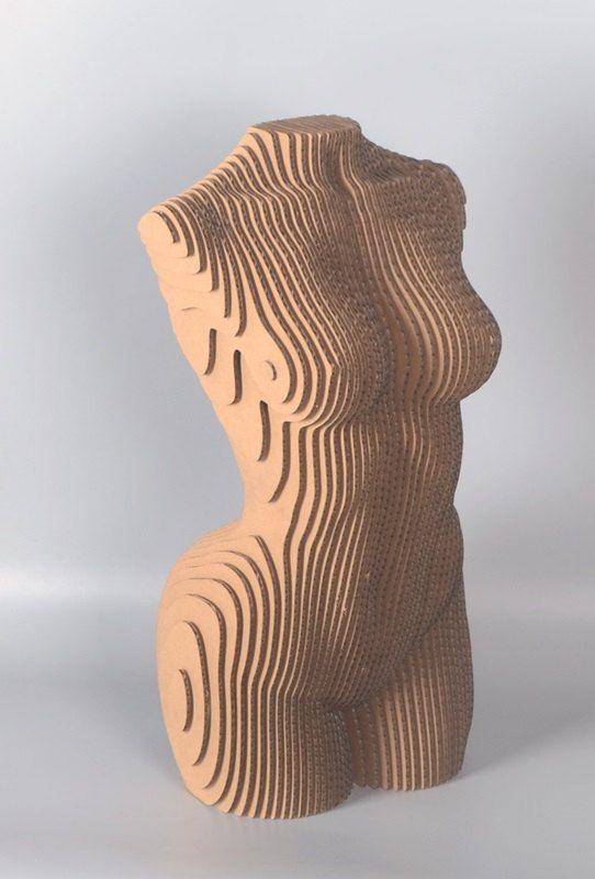Tranches de torse de femme – Sculpture en carton, DIY Papercraft, papier 3D artwork, Residence Decor, carton ondulé, bricolage cadeau