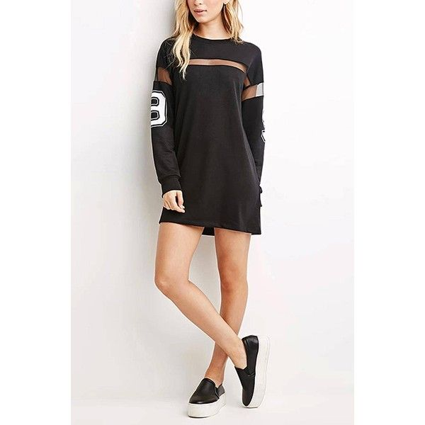 Yoins Yoins Casual Boyfriend Style Mesh Patchwork Number 98 Print... ($20) ❤ liked on Polyvore featuring dresses, black, mesh dress, sleeve dress, black sleeve dress, black mini dress and short sleeve dress