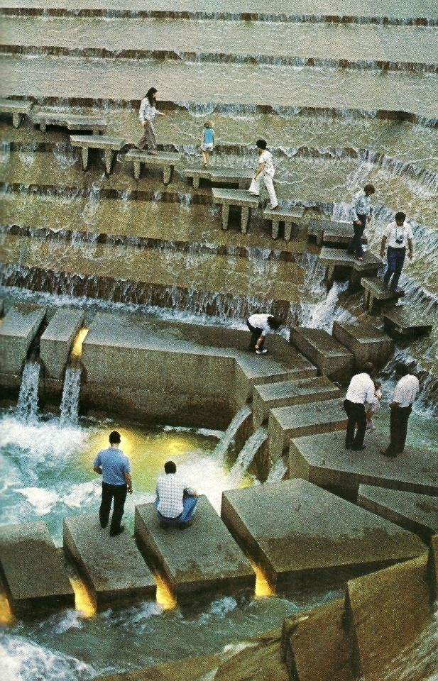 Public water garden, Fort Worth, Texas, 1974. Architects: Philip Johnson + John Burgee (photograph from National Geographic, April 1980).  I want St. Louis to have something that is like this too.