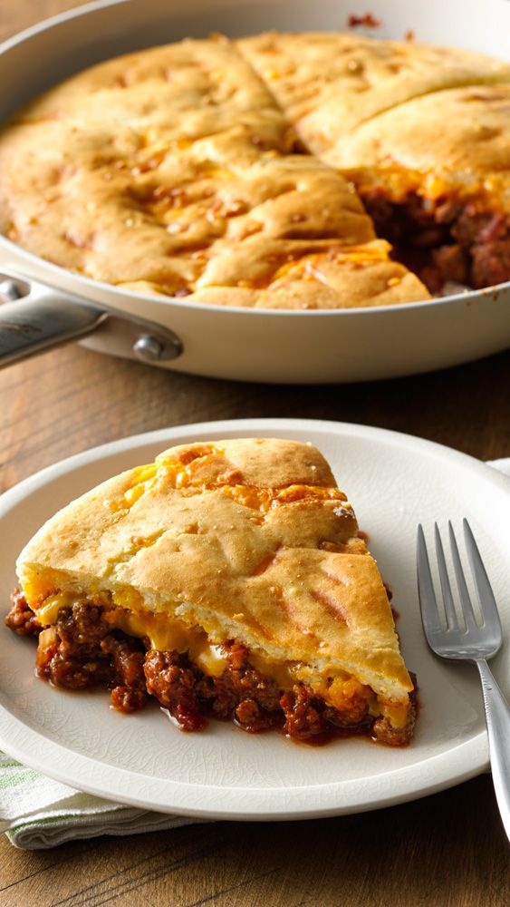 All the great taste of classic sloppy joes in an easy one-skillet pot pie. Betty members love how this recipe doubles for potlucks or serving larger families!