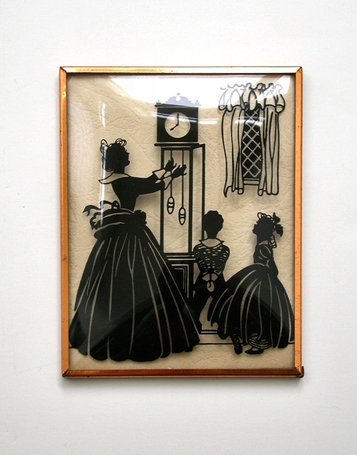 Vintage Silhouette Reverse Painting Convex Glass Mother Winds Clock While Children Watch.