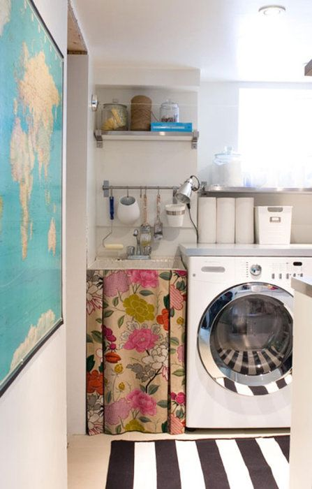 sweet laundry room.: Curtains, Utility Sinks, Small Kitchens, Kitchens Ideas, World Maps, Laundry Rooms, Fabrics, Under Sinks, Sinks Skirts