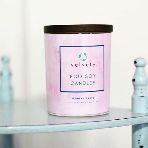 We make our own @velvetysoycandles 😊 Did you know? Scented soy candles 100% vegan & eco! Monkey Farts is our bestseller scent! It is a complex citrus blend that starts with a subtle base of vanilla then layered with fresh kiwi fruit, mango and bubblegum finished off with top notes of grapefruit, banana and fresh strawberries. A really yammy scent, don't you think? 💜🐵🙈🙊  .