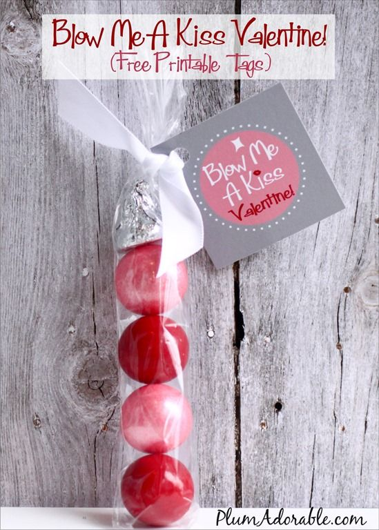 "Kids Valentine Idea: ""Blow Me A Kiss"" Free Printable Tags with gumballs and a chocolate kiss"