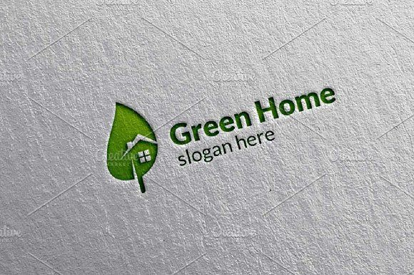 Green Home, Leaf Real estate Logo by denayunebgt on @creativemarket