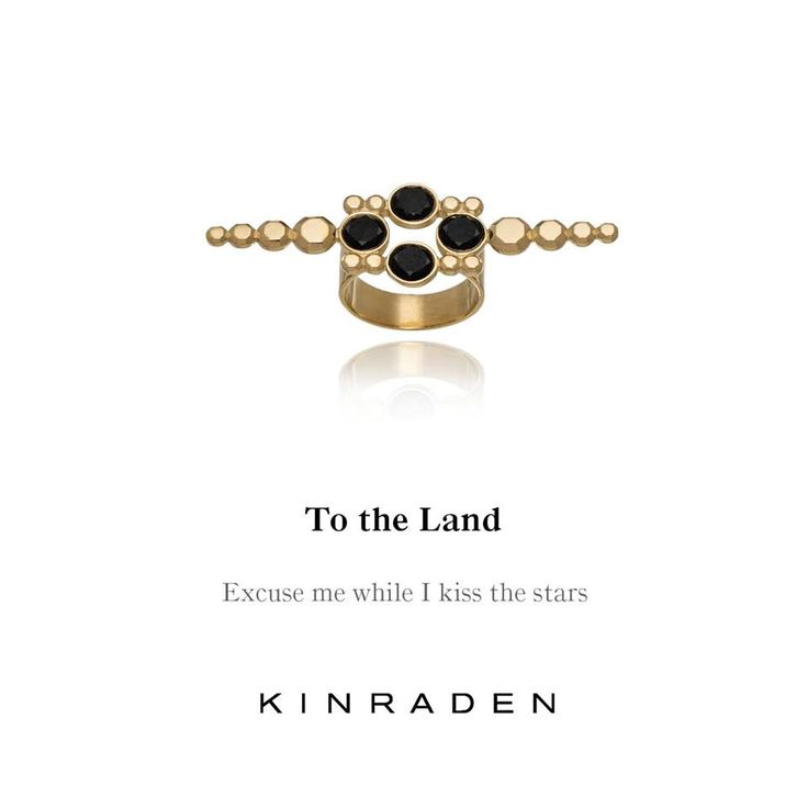 """To The Land"" - 18-carat eco-gentle, refined, recycled gold and four Brilliant Cut Mpingo heartwood diamonds. See all collections and visit our shop at www.kinraden.dk"