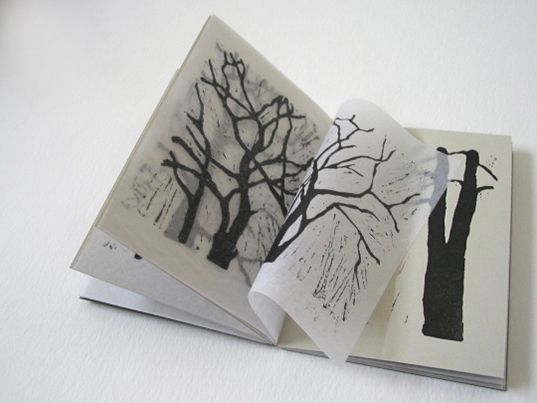 Sarah Peel  All my neighbours are trees Lino cuts on somerset velvet grey paper & acid free tissue, murano slate paper cover, sixteen pages, altered pamphlet stitch binding.