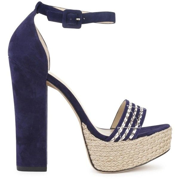 Womens High-Heel Sandals Alexandre Birman Alice Navy Suede And Cobra... ($770) ❤ liked on Polyvore featuring shoes, sandals, navy sandals, strappy platform sandals, platform sandals, heeled sandals and open toe sandals
