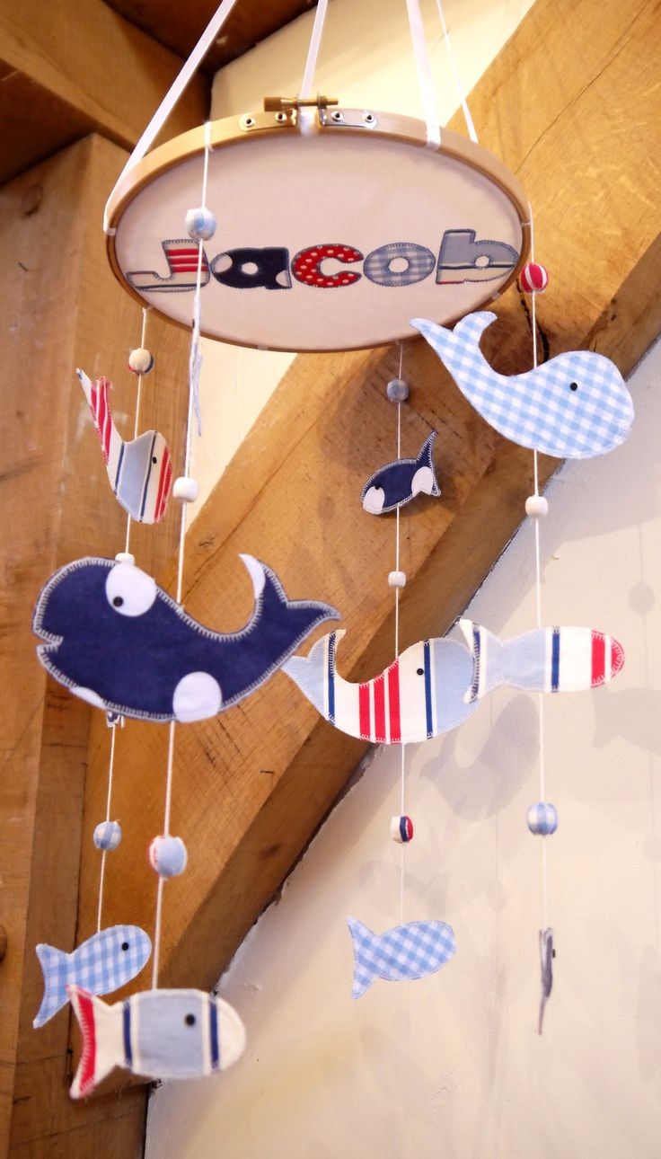 Personalized Mobile Nursery Cot Or Ceiling Nautical Decoration New Baby Gift Handmade In The Uk