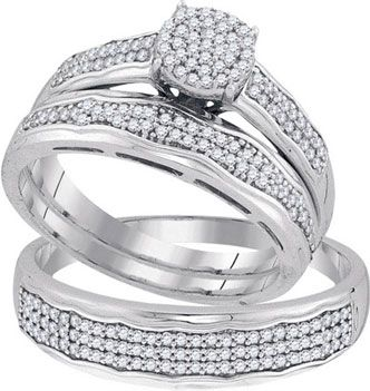 Three Piece Wedding Set 10K White Gold 050 Cts GD 92081