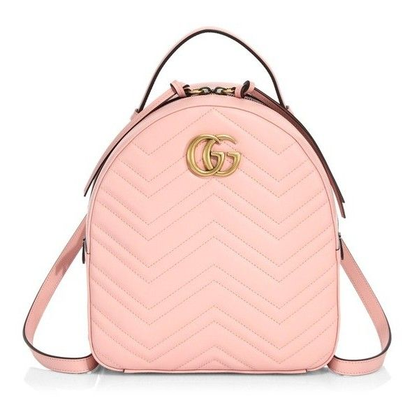 Gucci Gg Marmont Chevron Quilted Leather Mini Backpack (51.070 UYU) ❤ liked on Polyvore featuring bags, backpacks, pink, pink chevron backpack, mini backpack, gucci rucksack, pink lining backpack and mini rucksack
