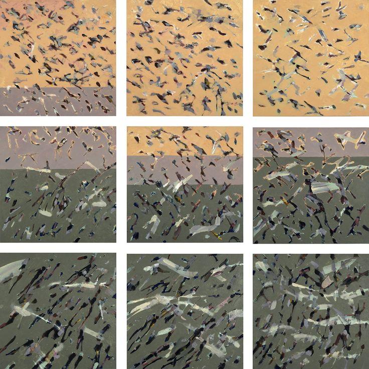 »auftrieb« by HaPS Berlin | 190 x 190 cm | (9 Teile à 60 x 60 cm) Arcyl auf Leinwand | 2007 | #Haps #HapsBerlin #HapsArt #Kunst #FineArt #ContemporaryArt #Acryl #AcrylMalerei #AcrylicPainting #Insekten #Insects #Schwarm #Swarm #InsektenFlügel #InsectWings #Flügel #Wings #FlügelInsekten #WingInsects #zart #delicate #filigran #filigree #zerbrechlich #fragile #Heuschrecken #Reizflucht #StimulusGetaway #HansPeterSchmidt